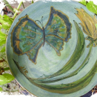 CONNIES FLUTTERBY- ooak ceramic plate by dorothy l