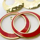 2 Pairs Vintage Gold Tone and Red Enamel Hoops 25 mm 32 mm