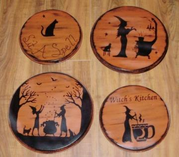 Primitive Witch Stovetop Burner Covers Halloween Decorations Witchcraft Tea Cat Sit a Spell Witches magic Home Decor Wicca Handpainted Folk Art Witch Farmhouse Country