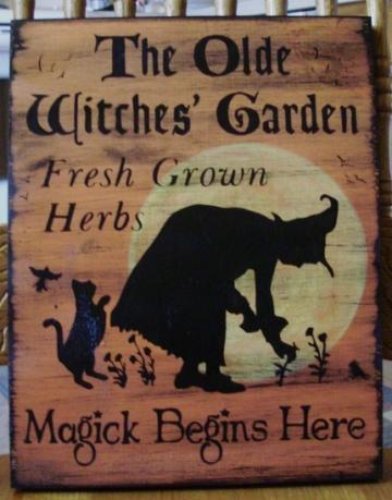 Herbal Olde Witches Garden Sign Herbs Witchcraft prim primitive primitives Apothecary Fairies Cats Pixies Elves Plaques Halloween Black Cats Whimsical painting wiccan magick magic