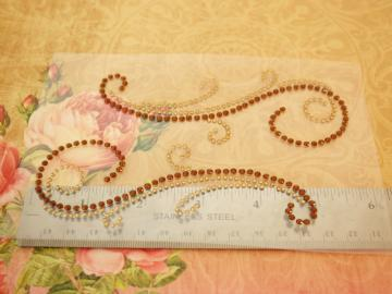 Brown Rhinestone flourish set of 5
