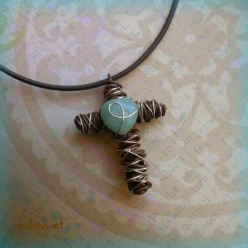Wire Cross Pendant Necklace // Blue Opal Heart