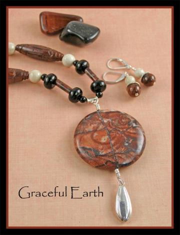 Brecciated Jasper, Black Onyx and Riverstone Necklace and Earring Set