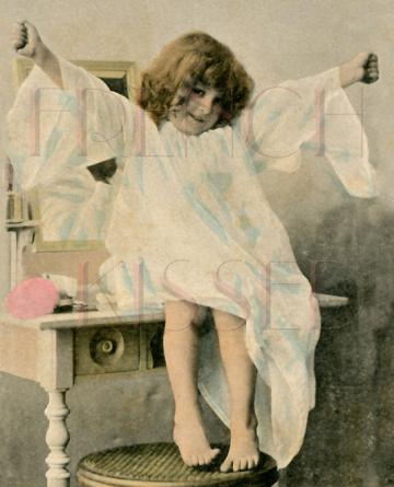 Angelic Girl with Arms Wide Open I WUV YOU This Much antique French postcard Digital Scan