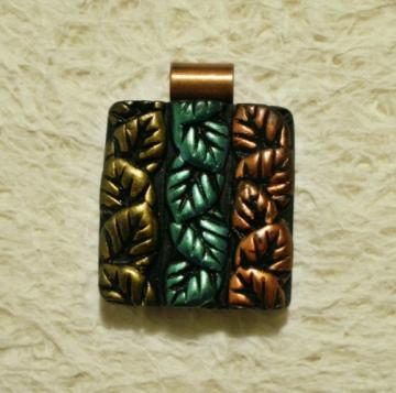 Handmade Leaves polymer clay focal bead pendant