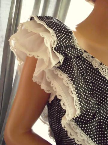 Vintage Gunne Sax Ruffled Sundress Black & White Polka Dot