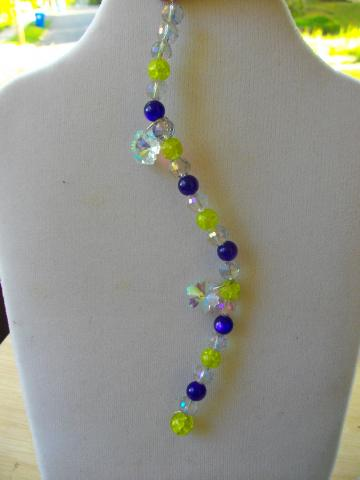 S-10 AB Microfaceted Crystal Bead, Purple and Lime Green Bead Suncatcher