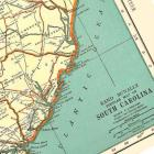 Rhode Island and South Carolina USA 1935 Engraved US State Maps