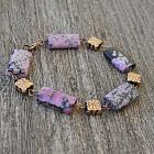 Real Copper and Purple Sugilite Jasper Bracelet and Earrings Set