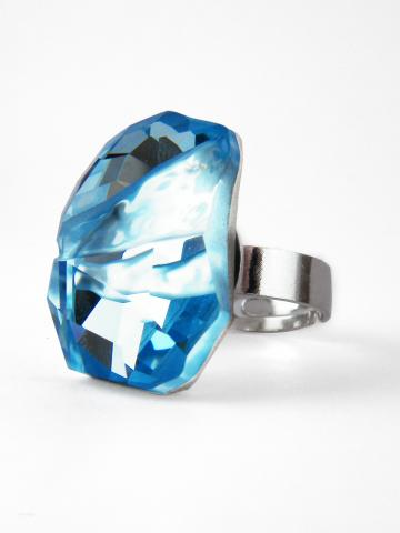Aura Ring Blue Swarovski Crystal Sterling Silver by LeelaBijou