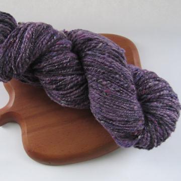 I'll Wear Purple Handspun Yarn from Crosspatch Creations Triple Play Roving wool/silk/viscose by Locks of Silver on Zibbet