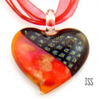 Handmade Lampwork Dichroic Heart Necklace