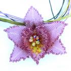 Beaded Orchid Flower necklace choker MADE TO ORDER