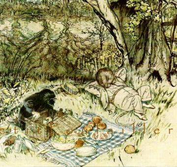 Vintage 1986 Arthur Rackham Green Tiger Press Blank Note Card Featuring The Wind in the Willows