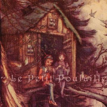 Antique 1927 Peter Pan and Wendy in the Treetop House Fairy Tale Lithograph