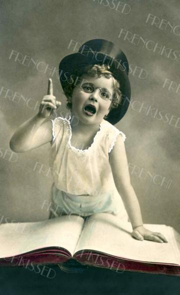 No. 1 in My Book Top Hat Child Victorian Antique postcard Digital Scan FATHER'S day Idea
