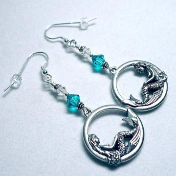 Swarovski Blue Zircon Mermaid .925 SS Earrings