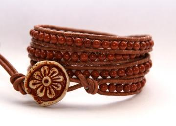 Kiera-Leather Wrap Beaded Bracelet