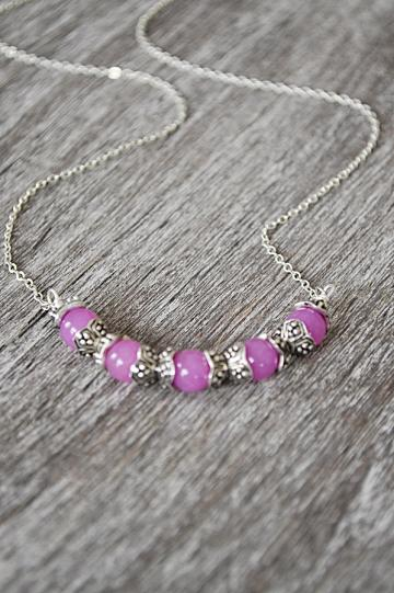 Fuchsia Jade Gemstone Silver Chain Necklace