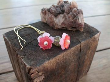 Long Dangle Pink and Red Blossom Earrings
