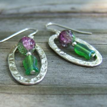 Purple and Green Fish Dangle Earrings
