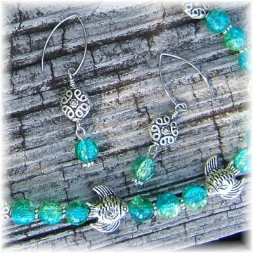 Turquoise and Green Tropical Fish Jewelry Set