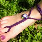 Eggplant Purple Rose Toekini - deep purple barefoot sandal rose