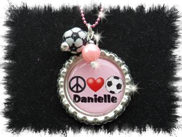 Personalized Peace love sports bottlecap necklace