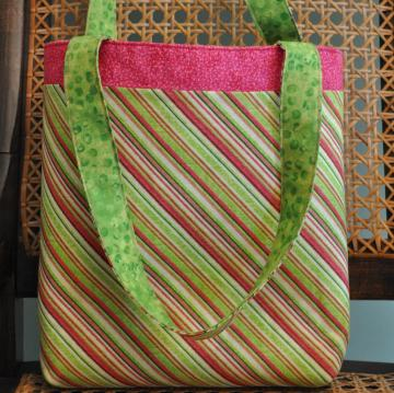 Striped Tote with Hot Pink Band