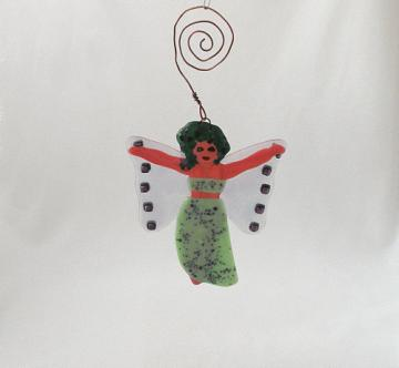 Handmade Art Glass Garden Fairy, Minty Green Dress with Sparkly Wings