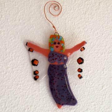 Art Glass Garden Fairy, Handmade Whimsical Wearing Purple with Clover