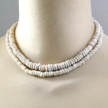2 Vintage 1970s Puka Shell Necklace Chokers