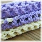 Purple and Yellow Crocheted Mesh Cloths