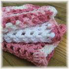 Rose Pink and White Crocheted Mesh Cloths