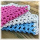Blue, Pink and Cream Crocheted Mesh Cloths
