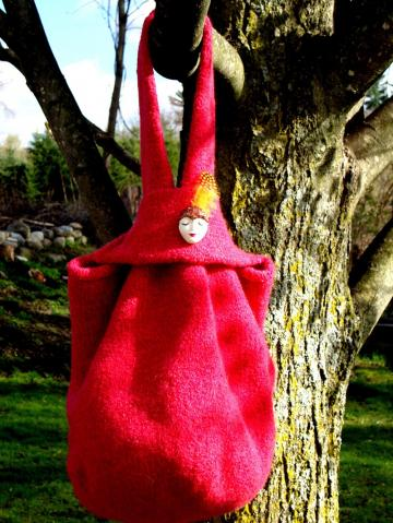 Hand Knit Felted Lucy Bag Raspberry