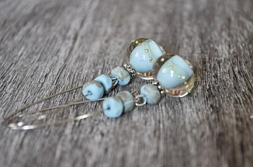 Handmade Organic Turqouise Lampwork Bead Earrings