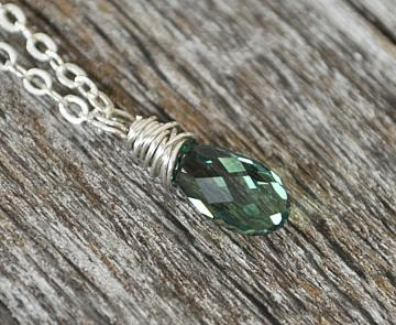 Light Green Crystal Wrap Pendant Silver Sterling Wire