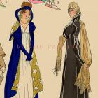 1925 French 1st Empire Coats and Jackets Couture ~ Fashion Pochoir Print