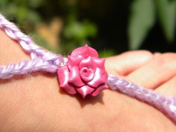 Tickled Pink and Purple Toekinis - pink rose charms and soft lavender
