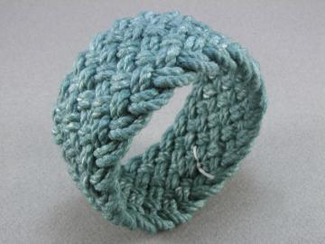 teal blue cotton wide turks head bracelet 1170