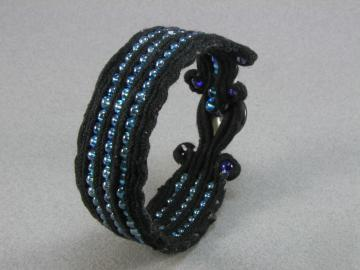 black cord cuff with blue beads and button 1230
