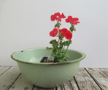 Chippy Green Enamelware Bowl