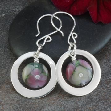 Artisan Lampwork Floral Bead and Sterling Silver Earrings - Pink and Ivory