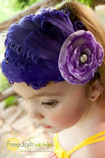 Purple Diva- vintage style curled feather headband