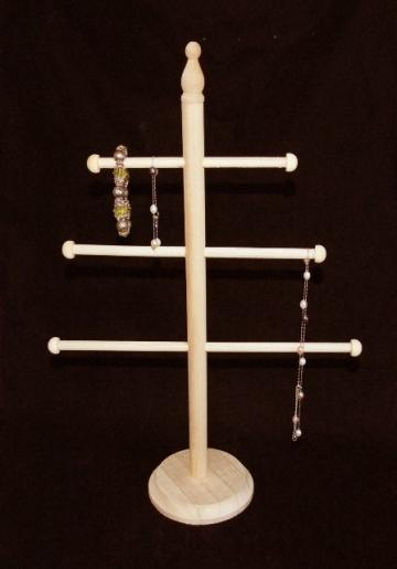 17 INCH NATURAL WOOD 3 T-BAR NECKLACE/BRACELET DISPLAY