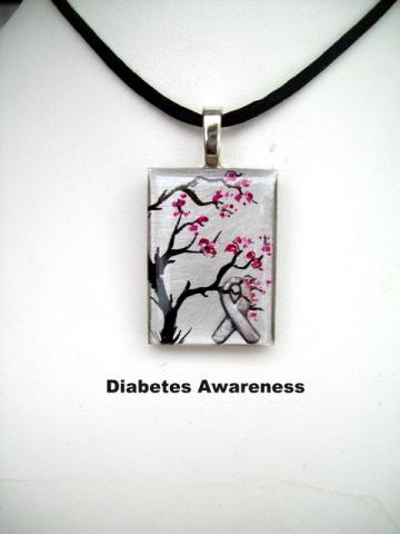 Diabetes awareness ribbon pendant, hand paitned tree.
