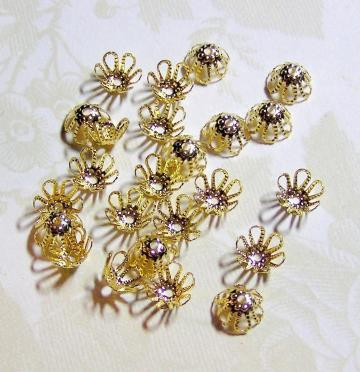 Gold-Plated Flower Bead Cap Findings