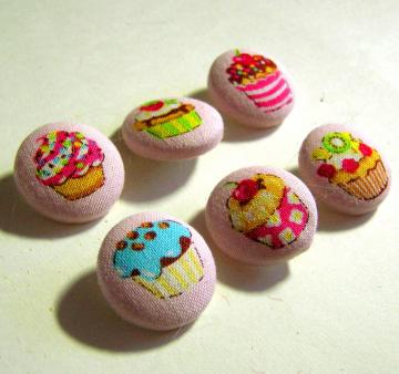 Sweet Cupcake Kawaii Fabric-Covered Buttons Set 1 of 2