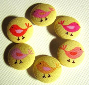 Little Bird Fabric-Covered Buttons -- Set 1 of 2